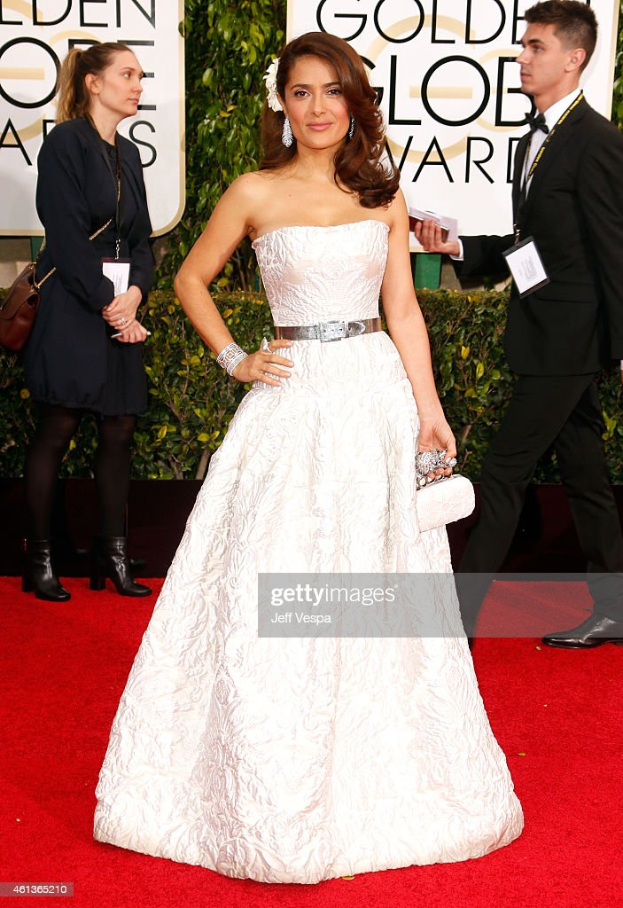 Actress <a gi-track='captionPersonalityLinkClicked' href=/galleries/search?phrase=Salma+Hayek&family=editorial&specificpeople=201844 ng-click='$event.stopPropagation()'>Salma Hayek</a> attends the 72nd Annual Golden Globe Awards at The Beverly Hilton Hotel on January 11, 2015 in Beverly Hills, California.