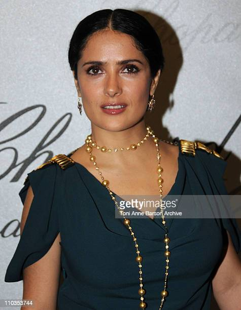 Actress Salma Hayek attends the Chopard Trophy Award Party at Carlton Beach during the 61st Cannes International Film Festival on May 19 2008 in...