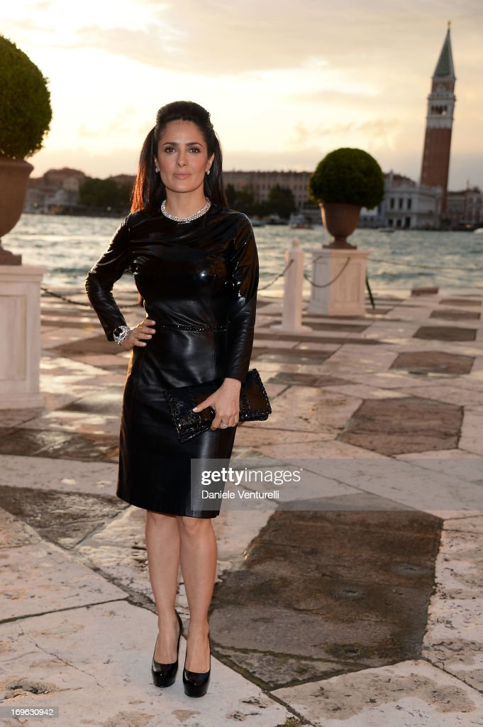 Actress <a gi-track='captionPersonalityLinkClicked' href=/galleries/search?phrase=Salma+Hayek&family=editorial&specificpeople=201844 ng-click='$event.stopPropagation()'>Salma Hayek</a> attends the Dinner At 'Fondazione Cini, Isola Di San Giorgio' during the 2013 Venice Biennale on May 29, 2013 in Venice, Italy.