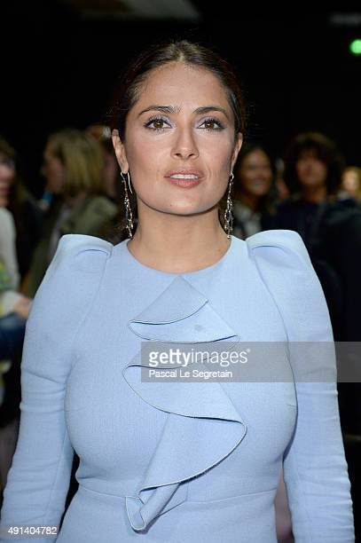 Actress Salma Hayek attends the Giambattista Valli show as part of the Paris Fashion Week Womenswear Spring/Summer 2016 on October 5 2015 in Paris...