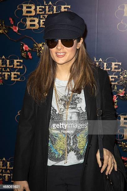 Actress Salma Hayek attends the 'La Belle la bete' Paris Premiere at Gaumont Opera on February 9 2014 in Paris France