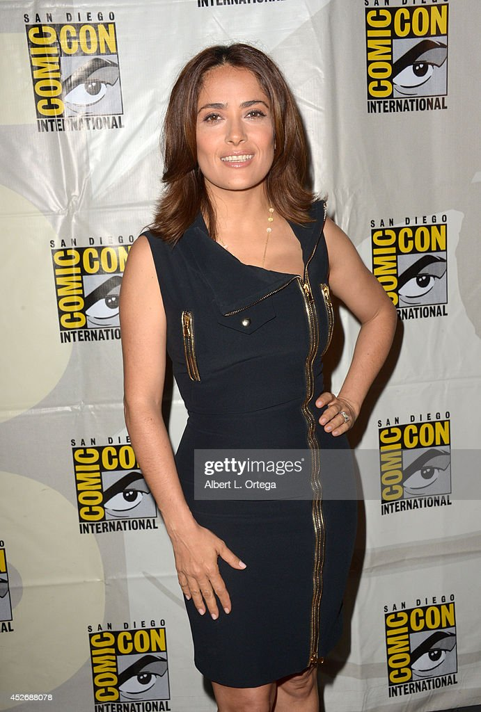 Actress <a gi-track='captionPersonalityLinkClicked' href=/galleries/search?phrase=Salma+Hayek&family=editorial&specificpeople=201844 ng-click='$event.stopPropagation()'>Salma Hayek</a> attends the Sony Pictures presentation during Comic-Con International 2014 at San Diego Convention Center on July 25, 2014 in San Diego, California.