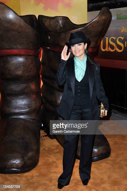 Actress Salma Hayek attends the UK film premiere of 'Puss In Boots' at Empire Leicester Square on November 24 2011 in London England