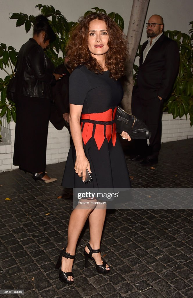 Actress Salma Hayek attends the W Magazine celebration of the 'Best Performances' Portfolio and The Golden Globes with Cadillac and Dom Perignon at Chateau Marmont on January 8, 2015 in Los Angeles, California.