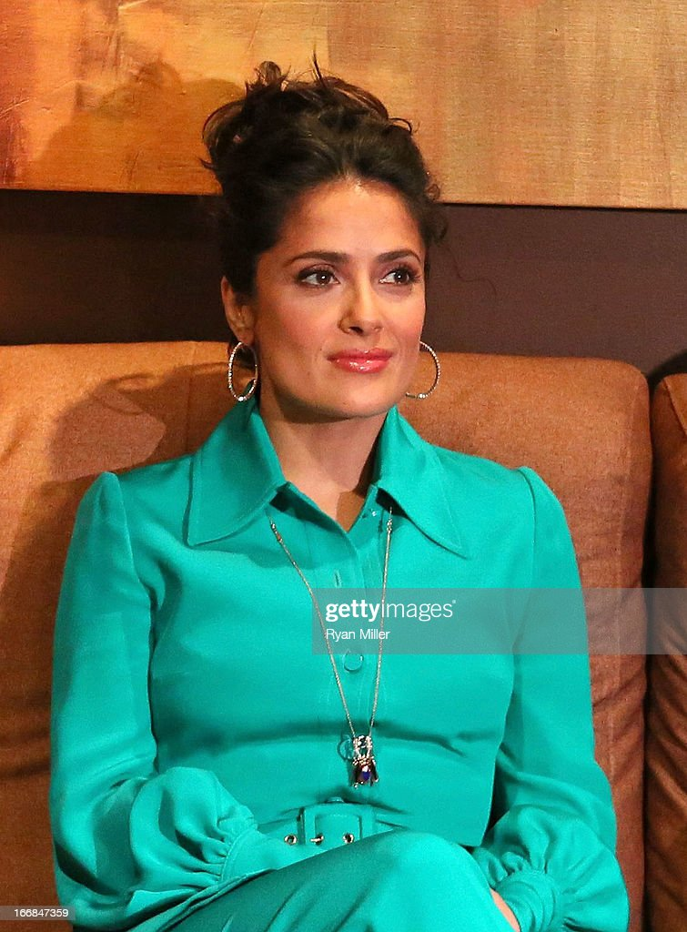 Actress Salma Hayek backstage prior to the Sony Pictures Entertainment Invites You to an Exclusive Product Presentation Highlighting its 2013 Films at Caesars Palace during CinemaCon, the official convention of the National Association of Theatre Owners on April 17, 2013 in Las Vegas, Nevada.