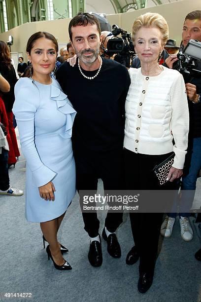 Actress Salma Hayek Fashion Designer Giambattista Valli and Lee Radziwill attend the Giambattista Valli show as part of the Paris Fashion Week...