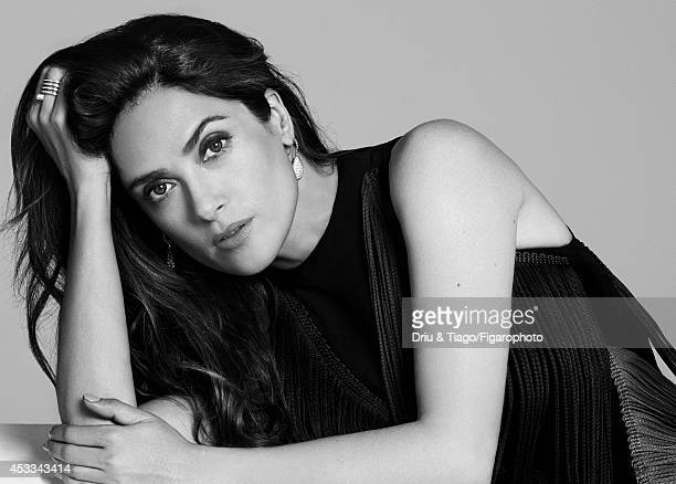 110093002 Actress Salma Hayek is photographed for Madame Figaro on June 6 2014 in Paris France Dress Serpent Boheme earrings and rings Makeup Yves...