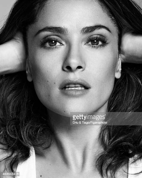 110093008 Actress Salma Hayek is photographed for Madame Figaro on June 6 2014 in Paris France Tank top Makeup Yves Saint Laurent PUBLISHED IMAGE...
