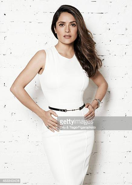 110093003 Actress Salma Hayek is photographed for Madame Figaro on June 6 2014 in Paris France Dress and belt Quatre Radiants ring bracelet Makeup...