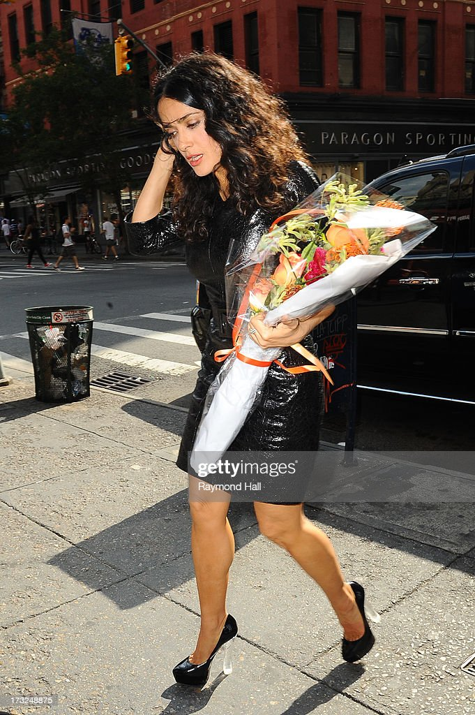 Actress Salma Hayek is seen in Soho on July 10, 2013 in New York City.