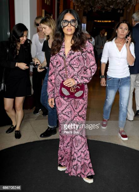 Actress Salma Hayek is spotted at the 'Majestic' hotel during the 70th annual Cannes Film Festival at on May 22 2017 in Cannes France