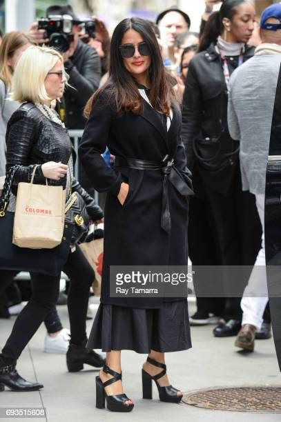 Actress Salma Hayek leaves the 'AOL Build' taping at the AOL Studios on June 07 2017 in New York City