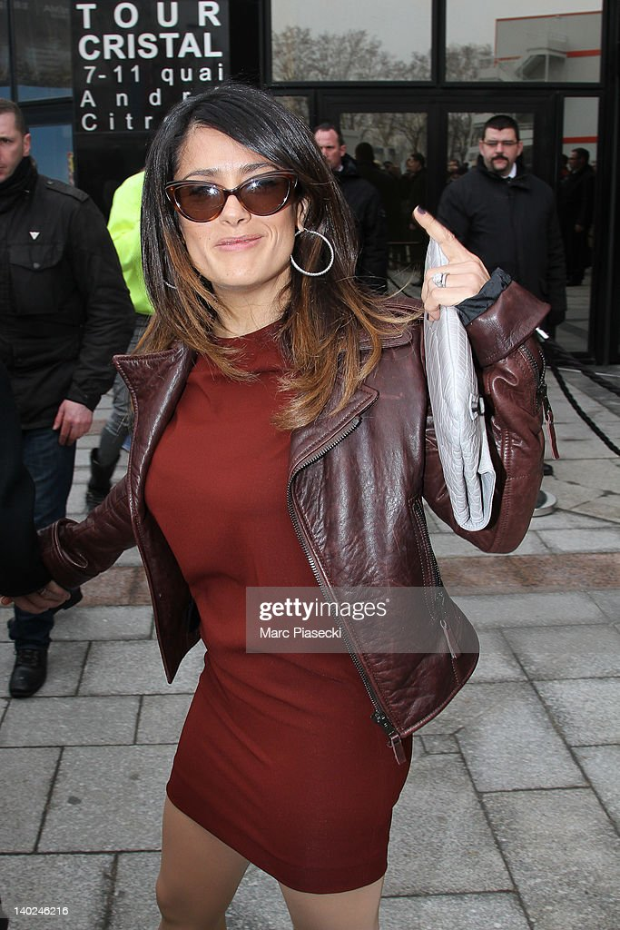 Actress Salma Hayek leaves the Balenciaga Ready-To-Wear Fall/Winter 2012 show as part of Paris Fashion Week on March 1, 2012 in Paris, France.