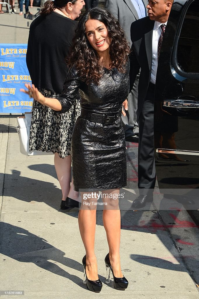 Actress Salma Hayek leaves the 'Late Show With David Letterman' taping at the Ed Sullivan Theater on July 10, 2013 in New York City.