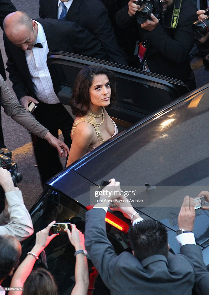 Actress Salma Hayek leaves the Palme d'Or Closing Ceremony held at the Palais des Festivals during the 63rd Annual International Cannes Film Festival on May 23, 2010 in Cannes, France.