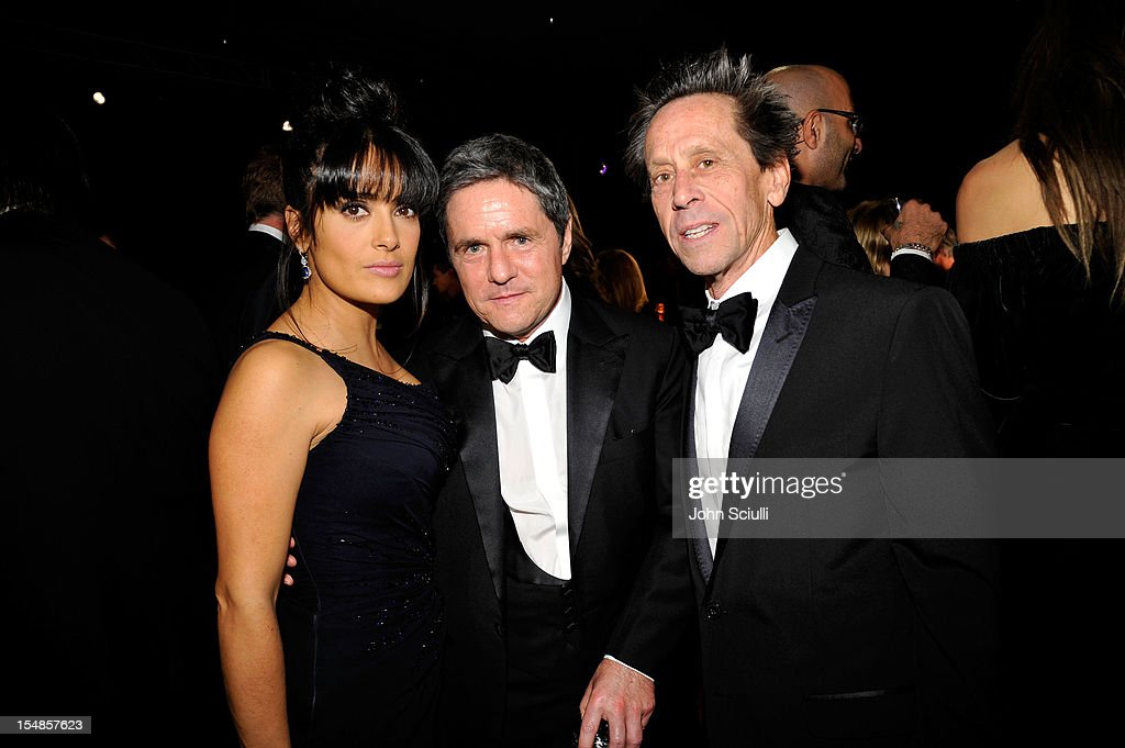 Actress Salma Hayek, Paramount Pictures Chairman & CEO Brad Grey, and producer Brian Grazer attend LACMA 2012 Art + Film Gala Honoring Ed Ruscha and Stanley Kubrick presented by Gucci at LACMA on October 27, 2012 in Los Angeles, California.
