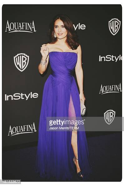 Actress Salma Hayek Pinault attends the 2015 InStyle And Warner Bros 72nd Annual Golden Globe Awards PostParty at The Beverly Hilton Hotel on January...