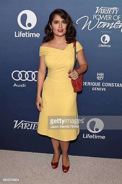 Actress Salma Hayek Pinault attends Variety's Power Of Women Luncheon at the Beverly Wilshire Four Seasons Hotel on October 9 2015 in Beverly Hills...