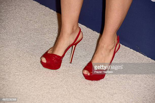 Actress Salma Hayek Pinault shoe detail attends Variety's Power Of Women Luncheon at the Beverly Wilshire Four Seasons Hotel on October 9 2015 in...