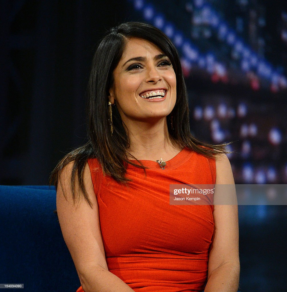 Actress <a gi-track='captionPersonalityLinkClicked' href=/galleries/search?phrase=Salma+Hayek&family=editorial&specificpeople=201844 ng-click='$event.stopPropagation()'>Salma Hayek</a> Pinault visits 'Late Night With Jimmy Fallon' at Rockefeller Center on October 12, 2012 in New York City.