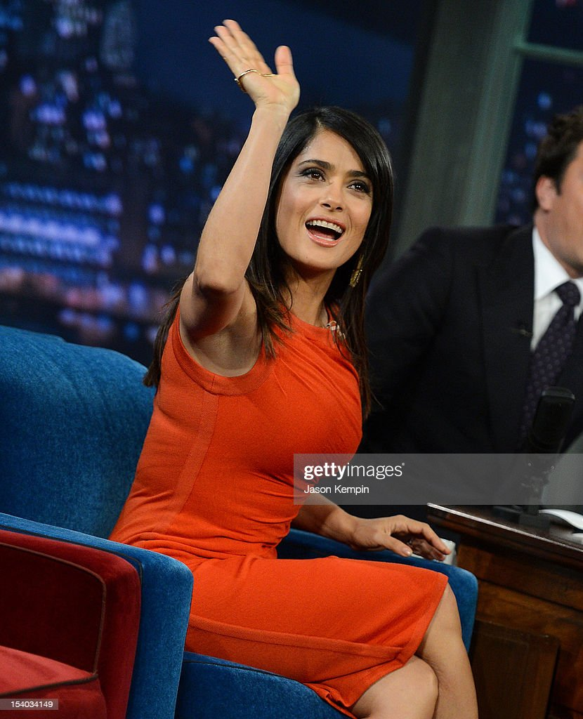 Actress Salma Hayek Pinault visits 'Late Night With Jimmy Fallon' at Rockefeller Center on October 12, 2012 in New York City.
