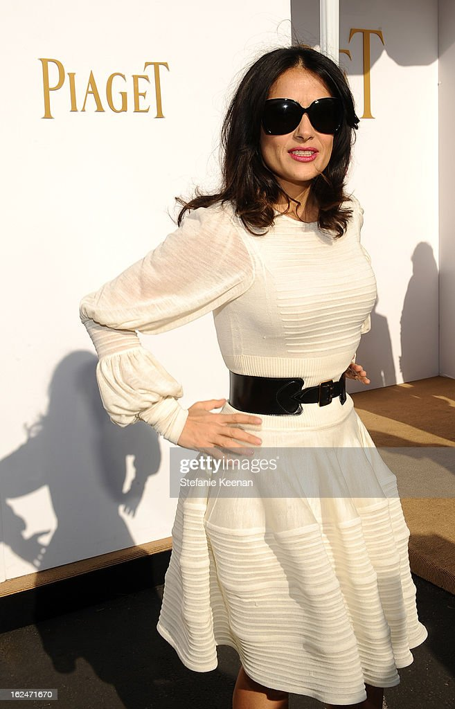 Actress Salma Hayek poses in the Piaget Lounge during The 2013 Film Independent Spirit Awards on February 23, 2013 in Santa Monica, California.