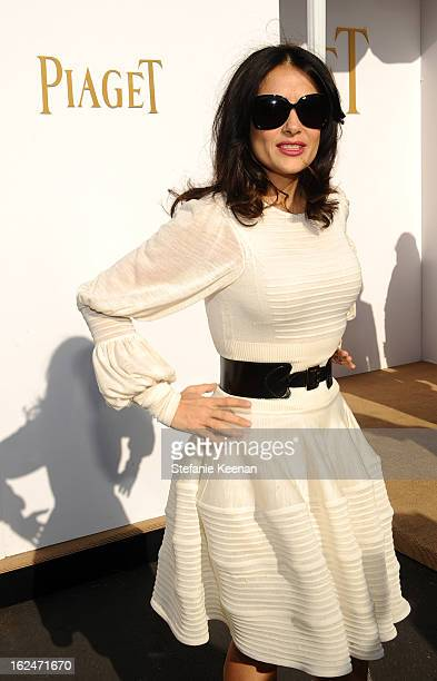 Actress Salma Hayek poses in the Piaget Lounge during The 2013 Film Independent Spirit Awards on February 23 2013 in Santa Monica California