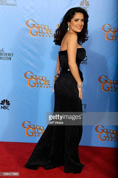 Actress Salma Hayek poses in the press room at the 70th Annual Golden Globe Awards held at The Beverly Hilton Hotel on January 13 2013 in Beverly...