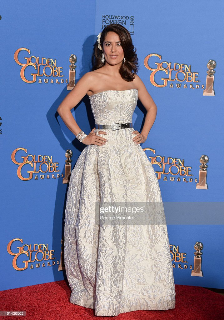 Actress Salma Hayek poses in the press room during the 72nd Annual Golden Globe Awards at The Beverly Hilton Hotel on January 11 2015 in Beverly...