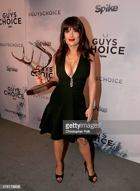 Actress Salma Hayek poses with the Decade of Hotness award backstage during Spike TV's Guys Choice 2015 at Sony Pictures Studios on June 6 2015 in...
