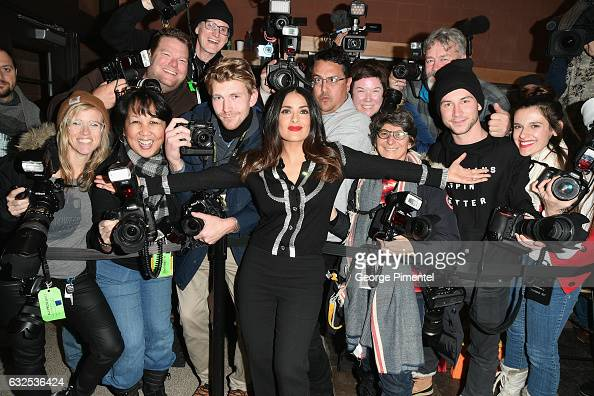 Actress Salma Hayek poses with the press at the 'Beatriz At Dinner' Premiere on day 5 of the Sundance Film Festival at Eccles Center Theatre on...