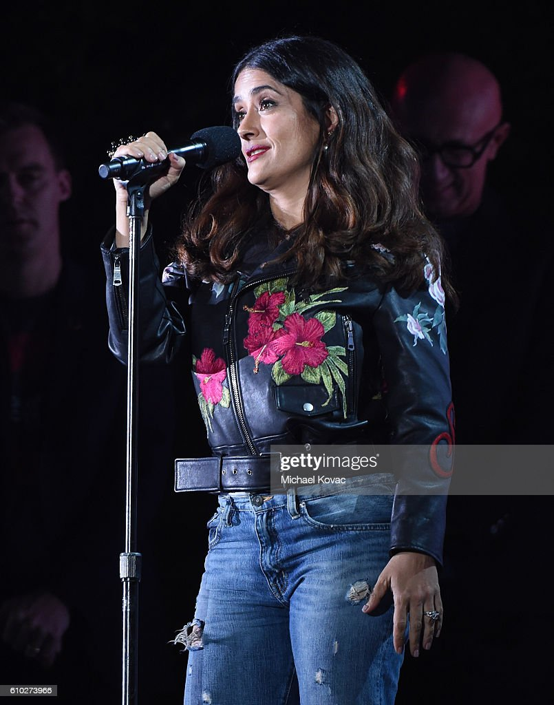 Actress Salma Hayek presents onstage at the 2016 Global Citizen Festival in Central Park To End Extreme Poverty By 2030 at Central Park on September 24, 2016 in New York City.