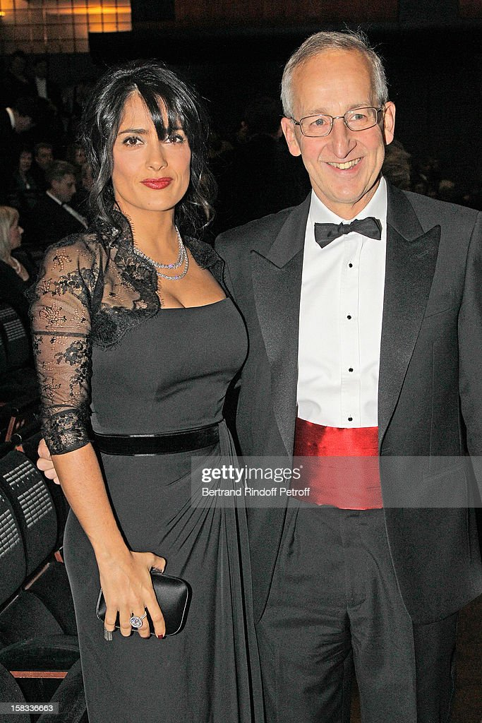 Actress Salma Hayek, President of the Arop Gala evening (L), and Sir Peter Ricketts, British Ambassador to France, attend the Arop Gala Event for Carmen New Production Launch at Opera Bastille on December 13, 2012 in Paris, France.