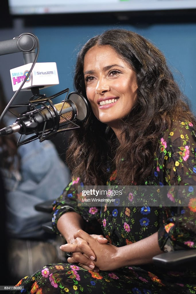 Actress Salma Hayek speaks on air as she visits the SiriusXM Studios on August 17, 2017 in Los Angeles, California.