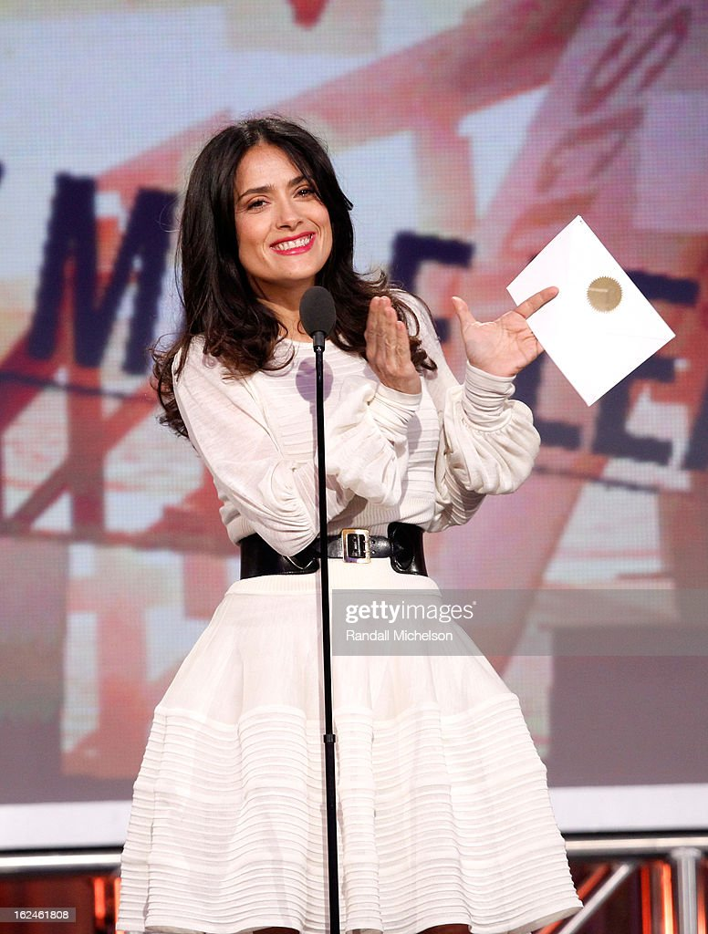 Actress <a gi-track='captionPersonalityLinkClicked' href=/galleries/search?phrase=Salma+Hayek&family=editorial&specificpeople=201844 ng-click='$event.stopPropagation()'>Salma Hayek</a> speaks onstage during the 2013 Film Independent Spirit Awards at Santa Monica Beach on February 23, 2013 in Santa Monica, California.