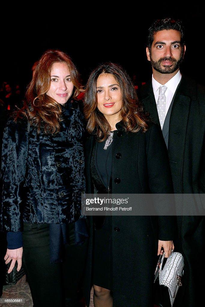 Actress Salma Hayek standing between Fahd Hariri (R) and his wife Maya Hariri attend the 'Nuit De La Chine' - Opening Night at Grand Palais on January 27, 2014 in Paris, France.