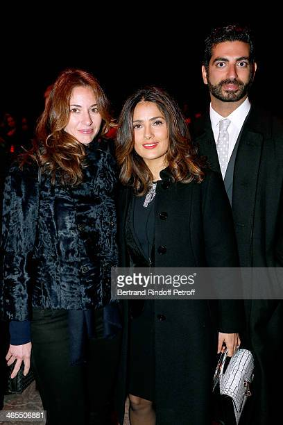 Actress Salma Hayek standing between Fahd Hariri and his wife Maya Hariri attend the 'Nuit De La Chine' Opening Night at Grand Palais on January 27...