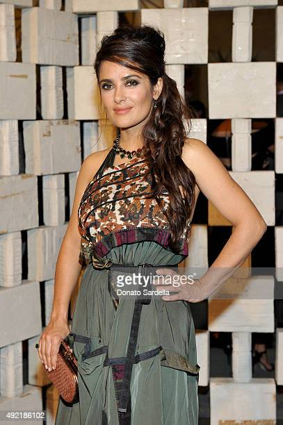 Actress Salma Hayek wearing Bottega Veneta attends the Hammer Museum Gala in Garden sponsored by Bottega Veneta at Hammer Museum on October 10 2015...