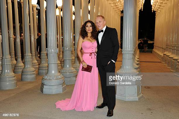 Actress Salma Hayek wearing Gucci and CEO of Kering FrancoisHenri Pinault attend LACMA 2015 ArtFilm Gala Honoring James Turrell and Alejandro G...