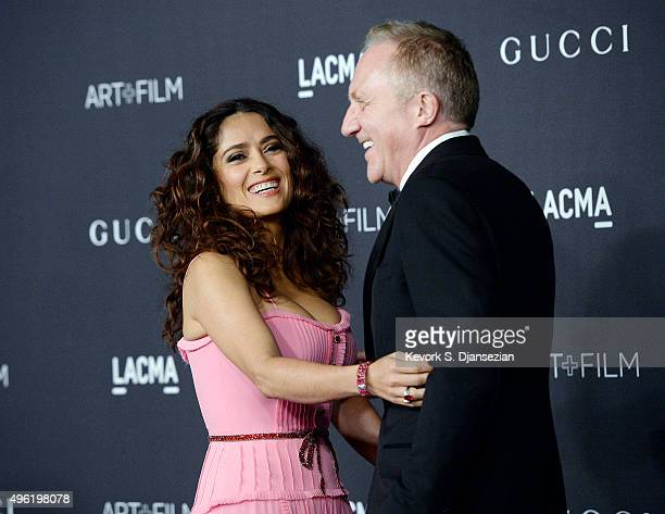 Actress Salma Hayek wearing Gucci and FrancoisHenri Pinault attend the LACMA Art Film Gala honoring Alejandro G Iñárritu and James Turrell and...