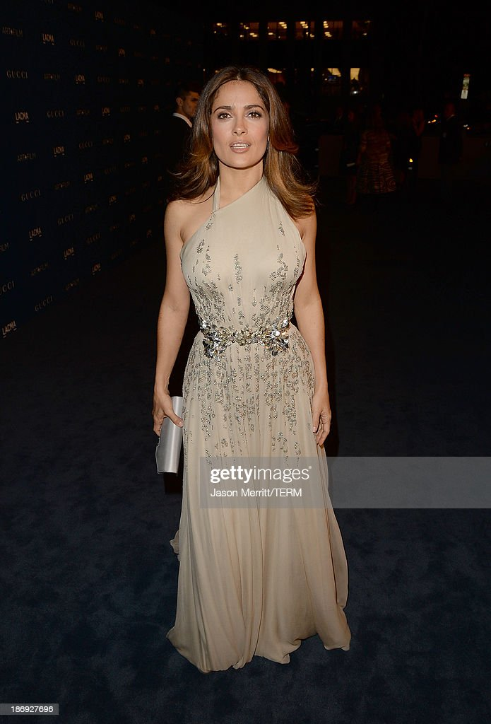 Actress Salma Hayek, wearing Gucci, attends LACMA 2013 Art + Film Gala honoring Martin Scorsese and David Hockney presented by Gucci at LACMA on November 2, 2013 in Los Angeles, California.