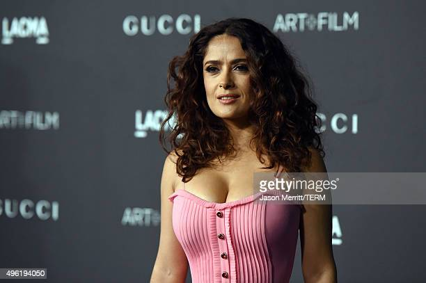 Actress Salma Hayek wearing Gucci attends LACMA 2015 ArtFilm Gala Honoring James Turrell and Alejandro G Iñárritu Presented by Gucci at LACMA on...