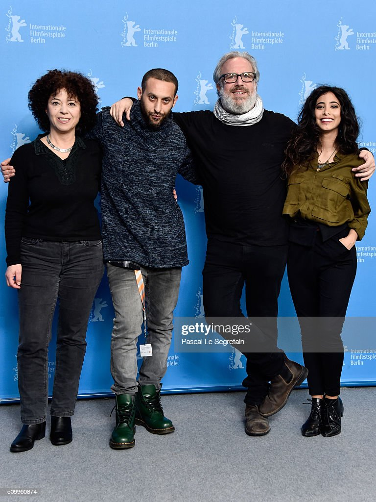 Actress Salwa Nakkara,Co-author Tamer Nafar,Director Udi Aloni and Actress Samar Qupty attend the 'Junction 48' photo call during the 66th Berlinale International Film Festival Berlin at Grand Hyatt Hotel on February 13, 2016 in Berlin, Germany.