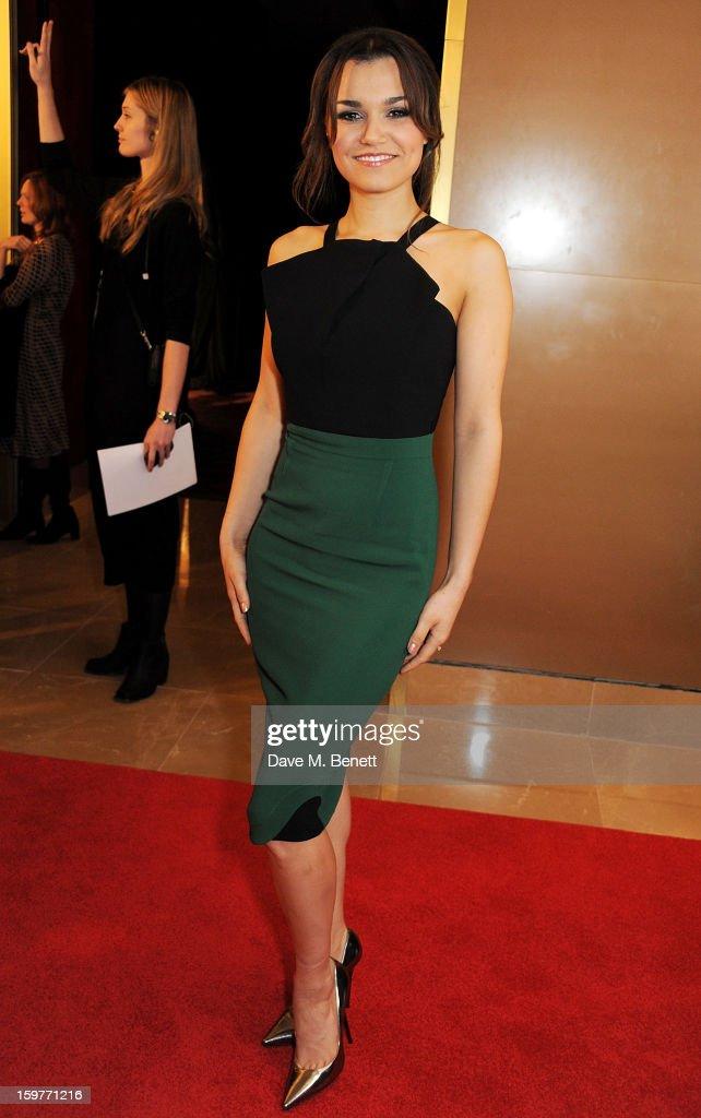 Actress Samantha Barks arrives at the London Critics Circle Film Awards at the May Fair Hotel on January 20, 2013 in London, England.