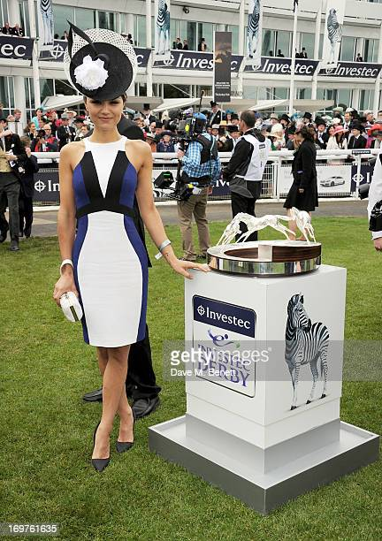 Actress Samantha Barks attends Derby Day at the Investec Derby Festival at Epsom Racecourse on June 1 2013 in Epsom United Kingdom