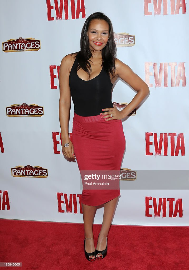 Actress <a gi-track='captionPersonalityLinkClicked' href=/galleries/search?phrase=Samantha+Mumba&family=editorial&specificpeople=204750 ng-click='$event.stopPropagation()'>Samantha Mumba</a> attends the opening night of 'Evita' at the Pantages Theatre on October 24, 2013 in Hollywood, California.