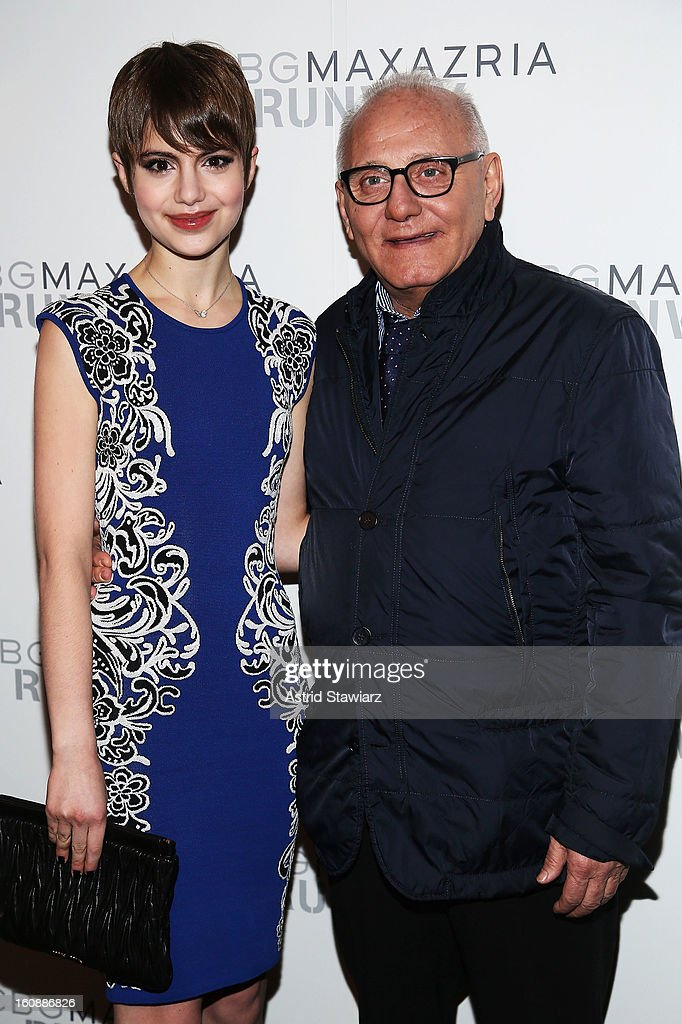 Actress <a gi-track='captionPersonalityLinkClicked' href=/galleries/search?phrase=Sami+Gayle&family=editorial&specificpeople=5053940 ng-click='$event.stopPropagation()'>Sami Gayle</a> and Designer Max Azria pose backstage at the BCBGMAXAZRIA Fall 2013 fashion show during Mercedes-Benz Fashion Week at The Theatre at Lincoln Center on February 7, 2013 in New York City.
