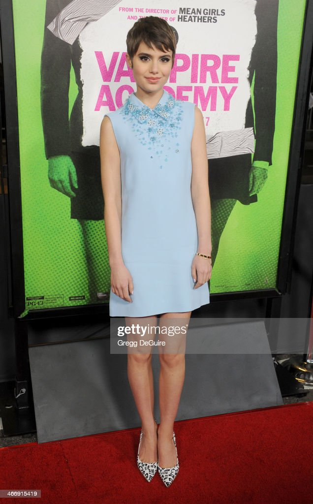 Actress Sami Gayle arrives at the Los Angeles premiere of 'Vampire Academy' at Regal Cinemas LA Live on February 4 2014 in Los Angeles California
