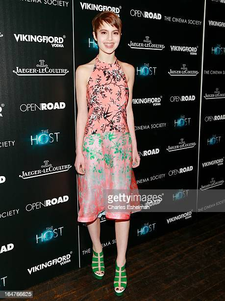 Actress Sami Gayle attends The Cinema Society JaegerLeCoultre Host A Screening Of Open Road Films' 'The Host' at the Tribeca Grand Hotel Screening...