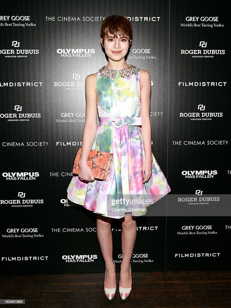 Actress Sami Gayle attends The Cinema Society with Roger Dubuis and Grey Goose screening of FilmDistrict's 'Olympus Has Fallen' at the Tribeca Grand Screening Room on March 11, 2013 in New York City.